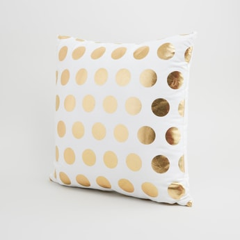 Polka Dot Printed Square Filled Cushion - 40x40 cms