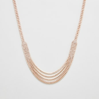 Studded Layered Necklace with Lobster Clasp