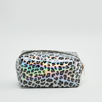 Animal Printed Pouch with Zip Closure