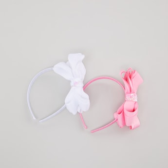 Set of 2 - Textured Hair Band with Bow Applique