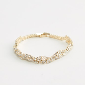 Studded Bracelet with Fold Over Clasp