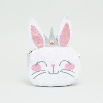 حقيبة كروس بودي بتصميم وجه ارنب بسحاب إغلاق وحزام قابل للتعديل