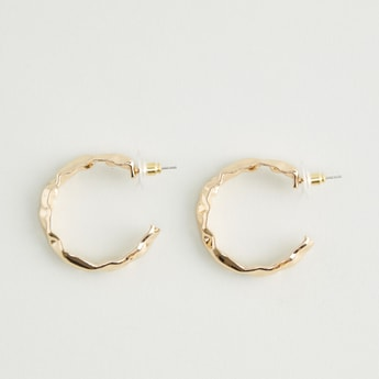 Metallic Hoop Earrings with Pushback Closure