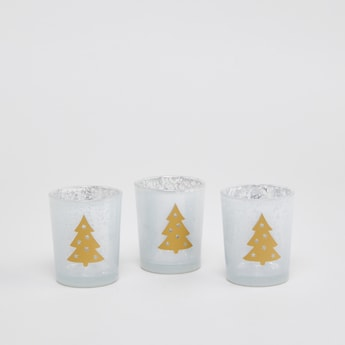 Set of 3 - Xmas Tree Print Candle Holder
