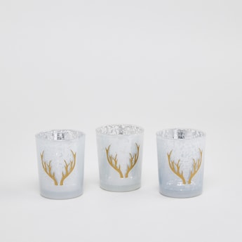 Set of 3 - Horn Print Candle Holders