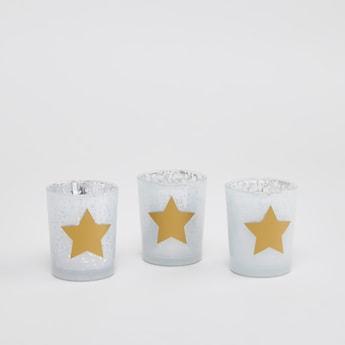 حامل شموع بطبعات نجوم - طقم من 3 قطع