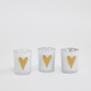 Set of 3 - Heart Print Candle Holders