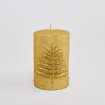 Textured Pillar Candle with Applique Detail
