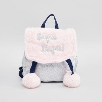 Backpack with Adjustable Shoulder Straps and Pom Poms