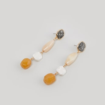 Dangling Stone Earrings with Push Back Closure