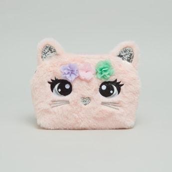 حقيبة كروس بودي بتصميم قطة بسحاب إغلاق وحزام قابل للتعديل