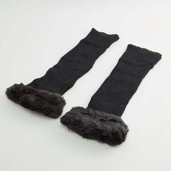Textured Leg Warmers with Plush Detail - 40x10 cms