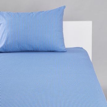 Striped Fitted Sheet with Pillow Case Set - 90x200 cms