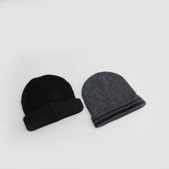 Set of 2 - Textured Beanie Caps