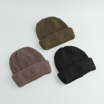Set of 3 - Textured Beanie Cap with Ribbed Hem
