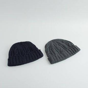 Set of 2 - Textured Beanie Cap with Ribbed Hem