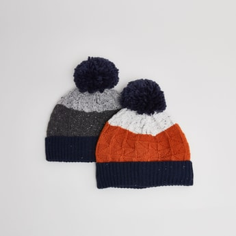 Set of 2 - Beanie Caps with Pom Poms