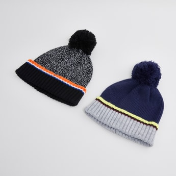 Set of 2 - Textured Beanie Caps with Ribbed Hem