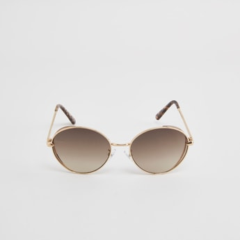 Full Rim Round Sunglasses with Printed Temple Tips
