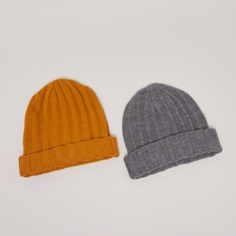 Set of 2 - Textured Beanie Cap