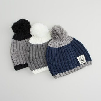 Set of 3 - Textured Beanie Cap with Pom-Pom Detail