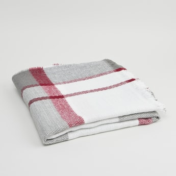 Checked Scarf with Fringed Hemline