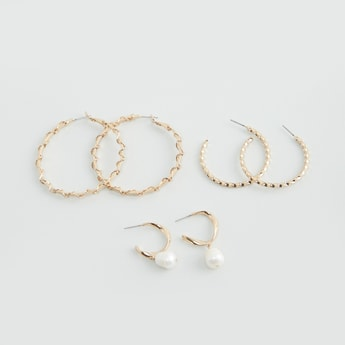 Set of 3 - Embellished Hoop Earrings