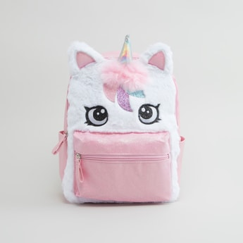 Unicorn Applique Backpack with Adjustable Straps and Zip Closure