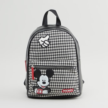 Mickey Mouse Chequered Backpack with Adjustable Straps