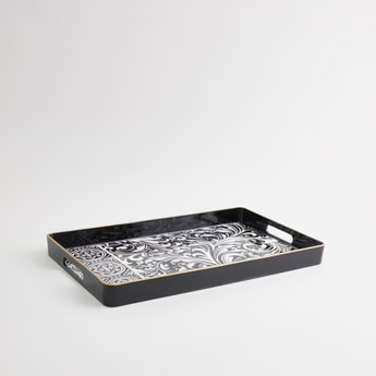 Printed Rectangular Tray with Cutout Handles - 40x24x4 cms