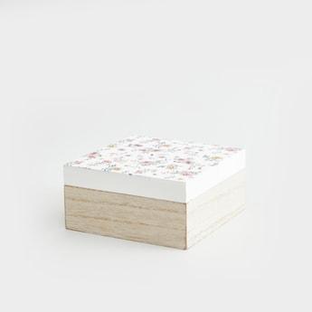صندوق تخزين علوي بطبعات زهرية - 14x14x7 سم