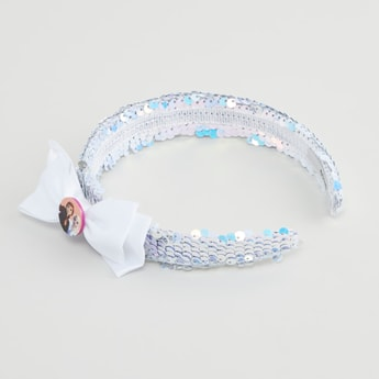 Frozen Sequin Embellished Hairband with Bow Accent