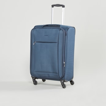 Textured Soft Case Luggage with Retractable Handle and Caster Wheels - 41x27x58 cms