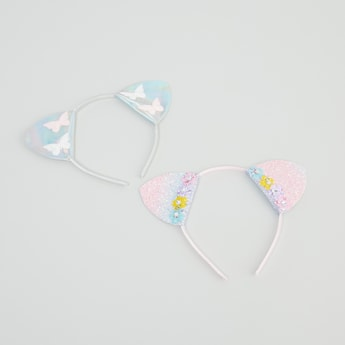 Set of 2 - Embellished Applique Detail Hairband