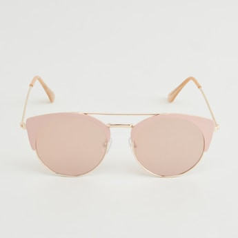 Half Rim Clubmaster Sunglasses with Temple Tips