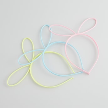 Set of 3 - Plain Hair Bands with Applique Detail