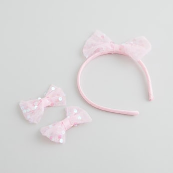 Bow Applique Detail 3-Piece Hair Accessory Set