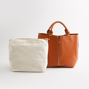 Textured Tote Bag with Detachable Strap and Twin Handles