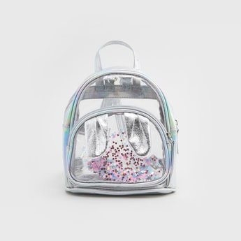 Sequin and Applique Detail Backpack with Adjustable Shoulder Straps