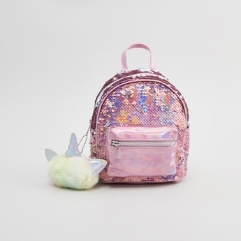 Sequin Detail Backpack with Zip Closure and Adjustable Straps