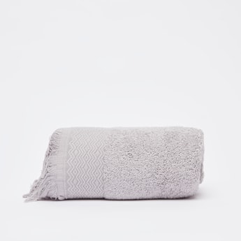 Textured Hand Towel with Fringe Detail - 80x50 cms