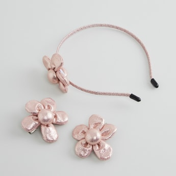 Floral Applique Detail 3-Piece Hair Accessory Set
