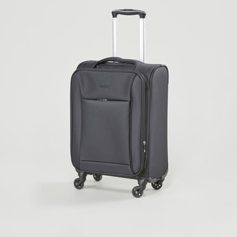 Textured Soft Case Luggage with Retractable Handle and Caster Wheels - 35x24x48 cms