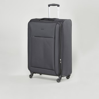 Textured Soft Case Luggage with Retractable Handle and Caster Wheels - 47x31x68 cms
