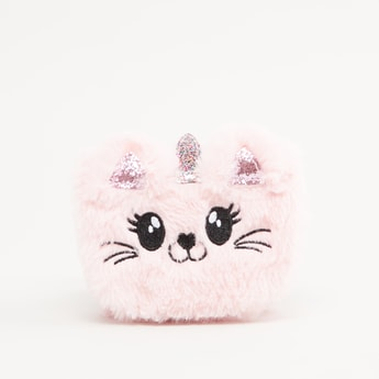 Cat Shaped Plush Crossbody Bag with Glitter Detail