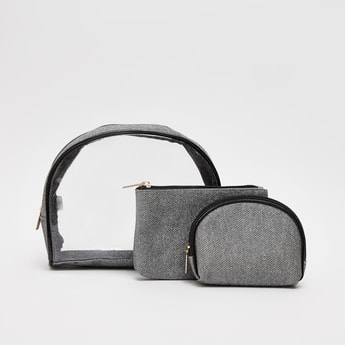 Set of 3 - Textured Pouches with Zip Closure