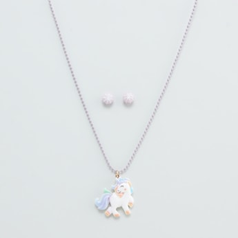 Unicorn Pendant Necklace and Earring Set