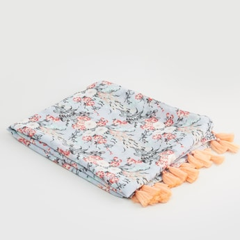 Floral Printed Rectangular Scarf with Tassels