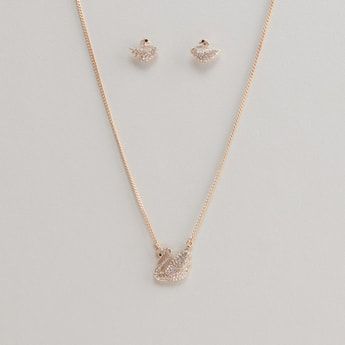 Swan Studded Necklace and Earrings Set