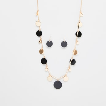 Paillette Detail Necklace and Earrings Set